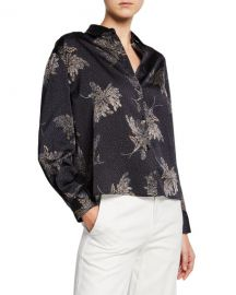 Vince Woodblock Floral Button-Front Blouse at Neiman Marcus