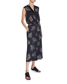 Vince Woodblock Floral Sleeveless Jumpsuit at Neiman Marcus