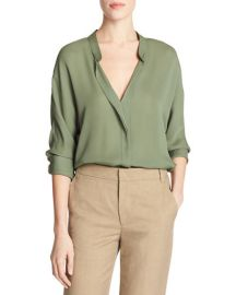 Vince silk blouse in sage at Neiman Marcus