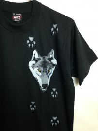 Vintage 1980s Deadstock Wolf and Paw Print T-Shirt at Etsy