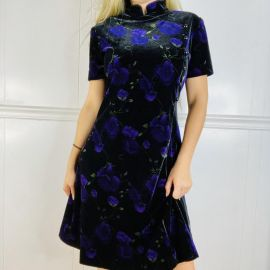 Vintage 80s 90s Mandarin Collar Black and Purple Floral Velvet Velour Dress at Etsy