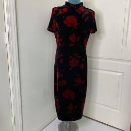 Vintage Dress Black Velvet Red Roses Size 12 Mandarin Collar Frog Detail Lord Taylor Pinup Rockabilly VLV at Etsy