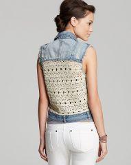 Vintage Havana Vest Denim Crochet Back at Bloomingdales