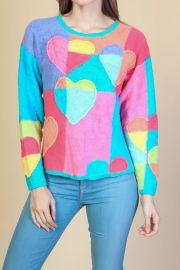Vintage colorful heart sweater at Etsy