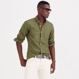 Vintage oxford shirt in tonal cotton in bench green at J. Crew