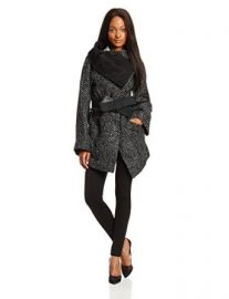 Vivienne Westwood Anglomania Womenand39s Talik Wool-Blend Tweed Belted Coat at Amazon