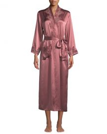Vivis Katiuscia Lace-Trim Long Silk Robe at Neiman Marcus