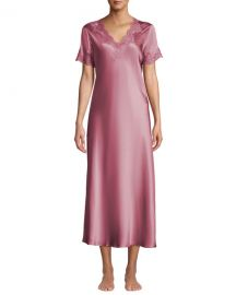 Vivis Krizia Lace-Trim Silk Nightgown at Neiman Marcus