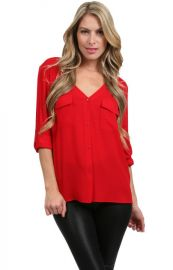 Vneck Pocket Blouse by Alice and Olivia at Couture Candy