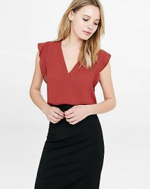 Vneck Ruffle Sleeve Blouse at Express
