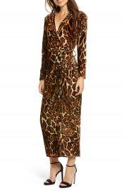 WAYF Gwyneth Velvet Wrap Midi Dress at Nordstrom