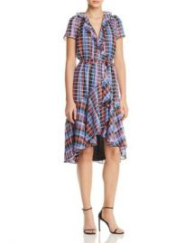 WAYF Sutton Metallic Check Print Wrap Dress Women - Bloomingdale s at Bloomingdales