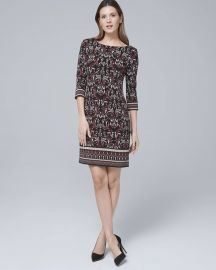 WHITE HOUSE BLACK MARKET ULTIMATE REVERSIBLE ARABESQUE PRINT/SOLID SHIFT DRESS at WHBM