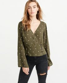 WRAP-FRONT BUTTON-UP BLOUSE at Abercrombie & Fitch