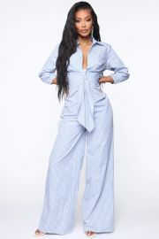 Walking The Lined Striped Jumpsuit at Fashion Nova
