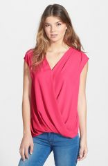 Wallis Draped Faux Wrap Sleeveless Blouse at Nordstrom