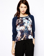 Warehouse  Warehouse Smudgy Floral Print Sweat at Asos