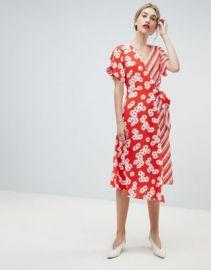 Warehouse daisy stripe wrap dress at asos com at Asos