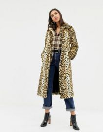 Warehouse faux fur maxi coat in leopard   ASOS at Asos