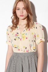 Watercolor chiffon blouse at Urban Outfitters