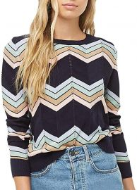 Wave Stripe Long Sleeve Casual Crewneck Knitted Pullover Sweater at Amazon