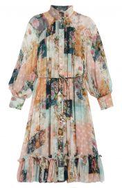 Wavelength Mixed Print Long Sleeve Silk Midi Dress at Nordstrom