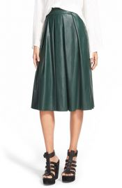 Wayf Faux Leather Pleat Skirt at Nordstrom