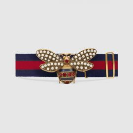 Web Belt with Bee at Gucci
