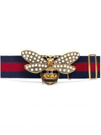 Web belt with bee gucci at Farfetch