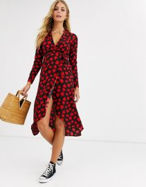 Wednesday\'s Girl midaxi wrap dress in heart print at ASOS