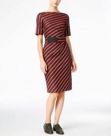 Weekend Max Mara Belted Striped Dress at Macys