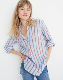 Wellspring Tunic Popover Shirt in Atwater Stripe at Madewell