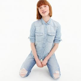 Western shirt in light wash at J. Crew