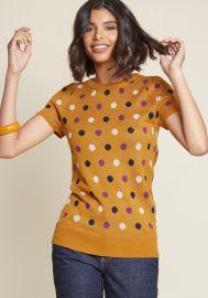 What I Call Fun Intarsia Sweater in Dotted Orange at ModCloth