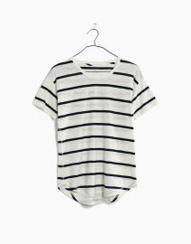Whisper Cotton Crewneck Tee in Creston Stripe at Madewell