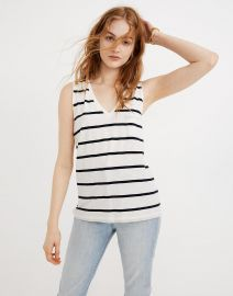 Whisper Cotton V-Neck Pocket Tank in Creston Stripe by Madewell at Madewell