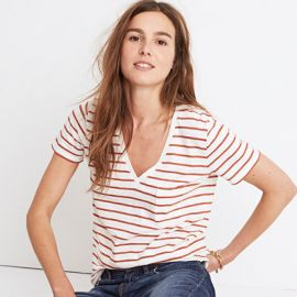 Whisper Cotton V-Neck Pocket Tee in Abilene Stripe by Madewell at Madewell