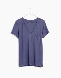 Whisper Cotton V-neck Tee in Sunfaded Indigo at Madewell