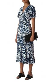 Whistles Brushed Leopard Button Midi Dress at Nordstrom