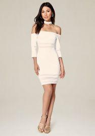 White Ariella Choker Dress by Bebe at Bebe