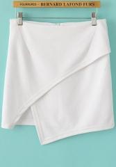 White Asymmetric Skirt at She Inside