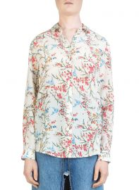 White Bird Avian & Floral-Print Silk Shirt at Bloomingdales