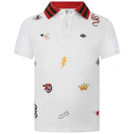 White Embroidered Polo Top by Gucci at Gucci
