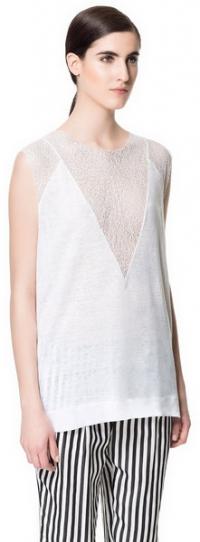 White Mesh Linen Tshirt at Zara