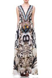 White Tiger Animal Print Long Slit Maxi at Shahida Parides