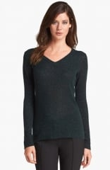 White and Warren Print V-Neck Cashmere Sweater in green at Nordstrom