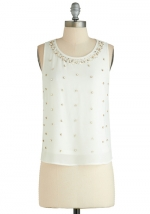 White beaded blouse at Modcloth