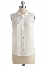White blouse with embroidered collar at Modcloth