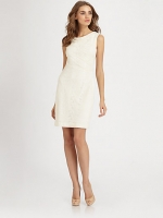 White cowl neck dress by Kay Unger at Saks Fifth Avenue