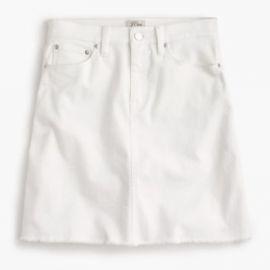 White denim skirt with raw hem at J. Crew